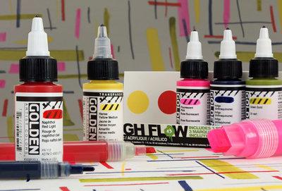 0959 Golden High Flow set 5 colors 30ml + 3 empty markers